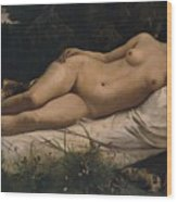 Recumbent Nymph Wood Print by Anselm Feuerbach
