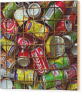 Recycling Cans Wood Print