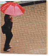 Red 1 - Umbrellas Series 1 Wood Print