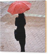 Red 2 - Umbrellas Series 1 Wood Print