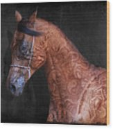 Red Ancient Horse No 01 Wood Print