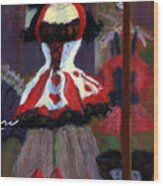Red And Black Jester Costume Wood Print by Cheryl Whitehall