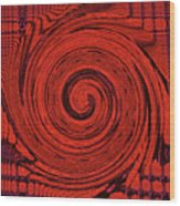 Red And Black Swirl - Modern/contemporary Painting Wood Print