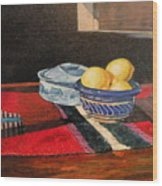 Red And Blue And Yellow Lemons Wood Print