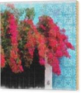 Bouganvillea And Blue Azulejos Wood Print