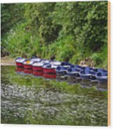 Red And Blue Boats On The River Coquet Wood Print
