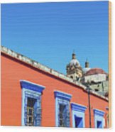 Red And Blue Colonial Architecture Wood Print