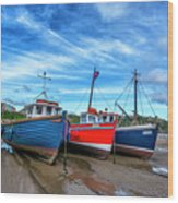 Red And Blue Fishing Boats Tenby Port Wood Print
