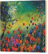Red And Blue Poppies  Wood Print