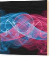 Red And Blue Smoke Wood Print