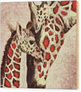 Red And Brown Giraffes Wood Print
