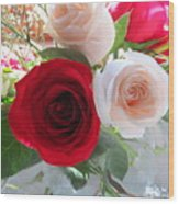 Red And Cream Tea Roses In Crystal Wood Print