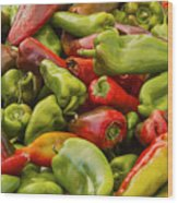 Red And Green Peppers Wood Print
