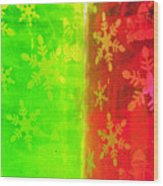 Red And Green With A Snowflake Pattern Wood Print