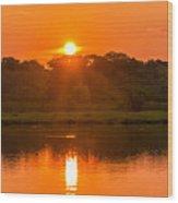 Red And Orange Jungle Sunset Wood Print