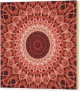 Red And Orange Mandala Wood Print