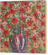 Red And Pink Poppies. Wood Print
