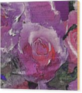 Red And Violet Roses Wood Print