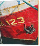 Red And White Boat Detail Wood Print