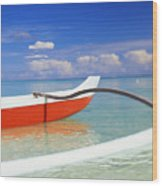Red And White Canoe Wood Print
