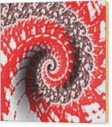 Red And White Fractal Wood Print