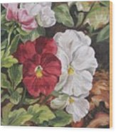 Red And White Pansies Wood Print