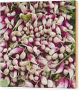 Red And White Radishes Wood Print by John Trax