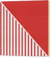 Red And White Triangles Wood Print