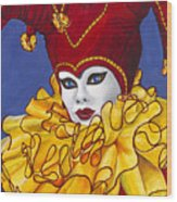 Red And Yellow Carnival Jester Wood Print