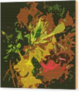 Red And Yellow Flowers Abstract Wood Print