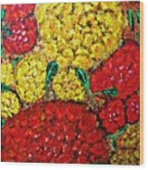 Red And Yellow Garden Wood Print