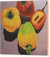 Red And Yellow Peppers Wood Print