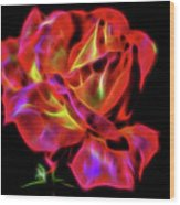 Red And Yellow Rose Fractal Wood Print