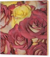 Red And Yellow Roses Wood Print
