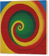 Red And Yellow Swirl Wood Print