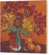 Red And Yellow Tulips And Oranges Wood Print