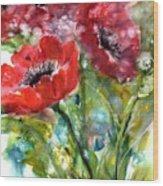 Red Anemone Flowers Wood Print