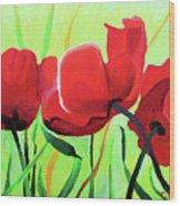 Red Anemonies Wood Print