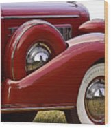 Red Antique Car Wood Print