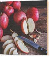 Red Apple Slices Wood Print