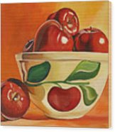 Red Apples In Vintage Watt Yellowware Bowl Wood Print
