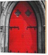 Red Arched Door Wood Print
