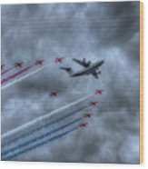 Red Arrows And A400m Airbus Wood Print