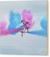 Red Arrows Break Wood Print