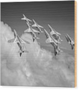 Red Arrows Sky High Bw Version Wood Print