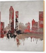 Red Atlanta Georgia Skyline Wood Print