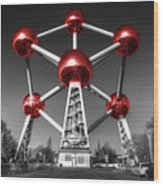 Red Atomium Wood Print by Rob Hawkins