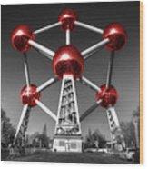 Red Atomium Wood Print