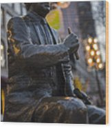 Red Auerbach Chilling At Fanueil Hall Side Wood Print