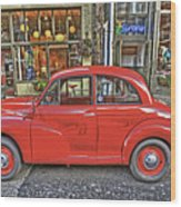 Red Morris Minor Wood Print